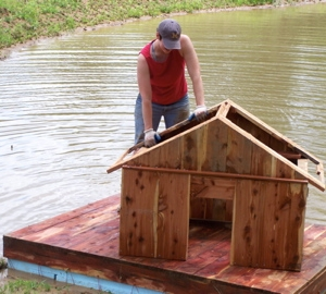 Getting the house in place on the dock