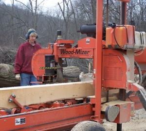 The Wood Mizer at work