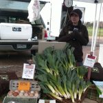 Hayley at the market with Leeks