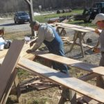 Cutting & measuring oak lumber for barn siding
