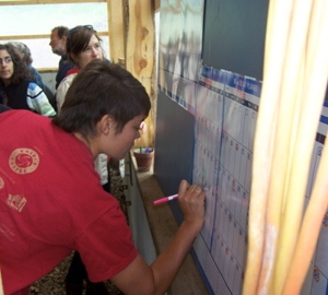 One of our members signing up for her work shifts