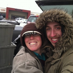 Liz & Nick at a winter CSA distribution