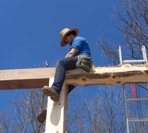 Andy toenails in the beam to the post