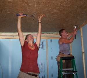 Our arms sure were tired after nailing on the ceiling!!!