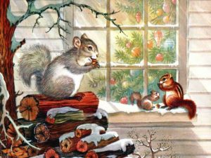 Vintage-Christmas card w: squirrels